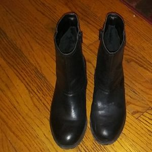 Black leather bootie boots